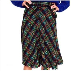 Zara multicolored tweed plain long skirt new